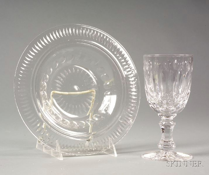 Set of Twenty-two Colorless Cut Crystal Tablewares