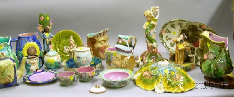 Approximately Twenty-three Pieces of Miscellaneous Majolica Tableware and Table   Items