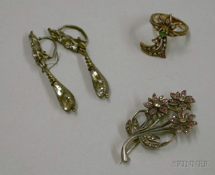 Pair of White Metal and Paste Earpendants, a Sterling Silver and Marcasite Brooch, and a Gilt Silver and Gemsto...