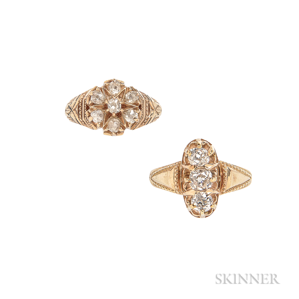 Two Antique 18kt Gold and Diamond Rings