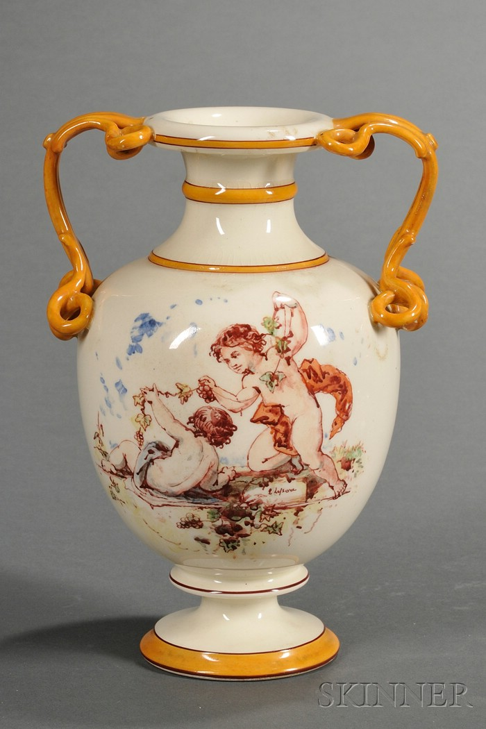 Wedgwood Lessore Decorated Queen's Ware Vase