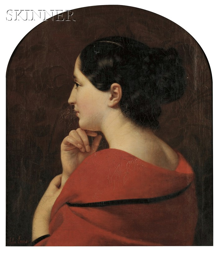 Jules (Jean-François-Hyacinthe) Laure (French, 1806-1861)      Portrait in Profile of a Young Woman with a Red Drape