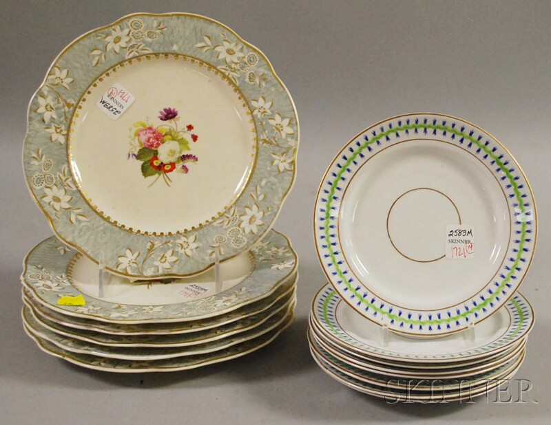 Set of Eight Paris Porcelain Saucers, a Pair of Paris Classical-decorated Cups and Saucers, and a Set of Six English Gilt, Tr...