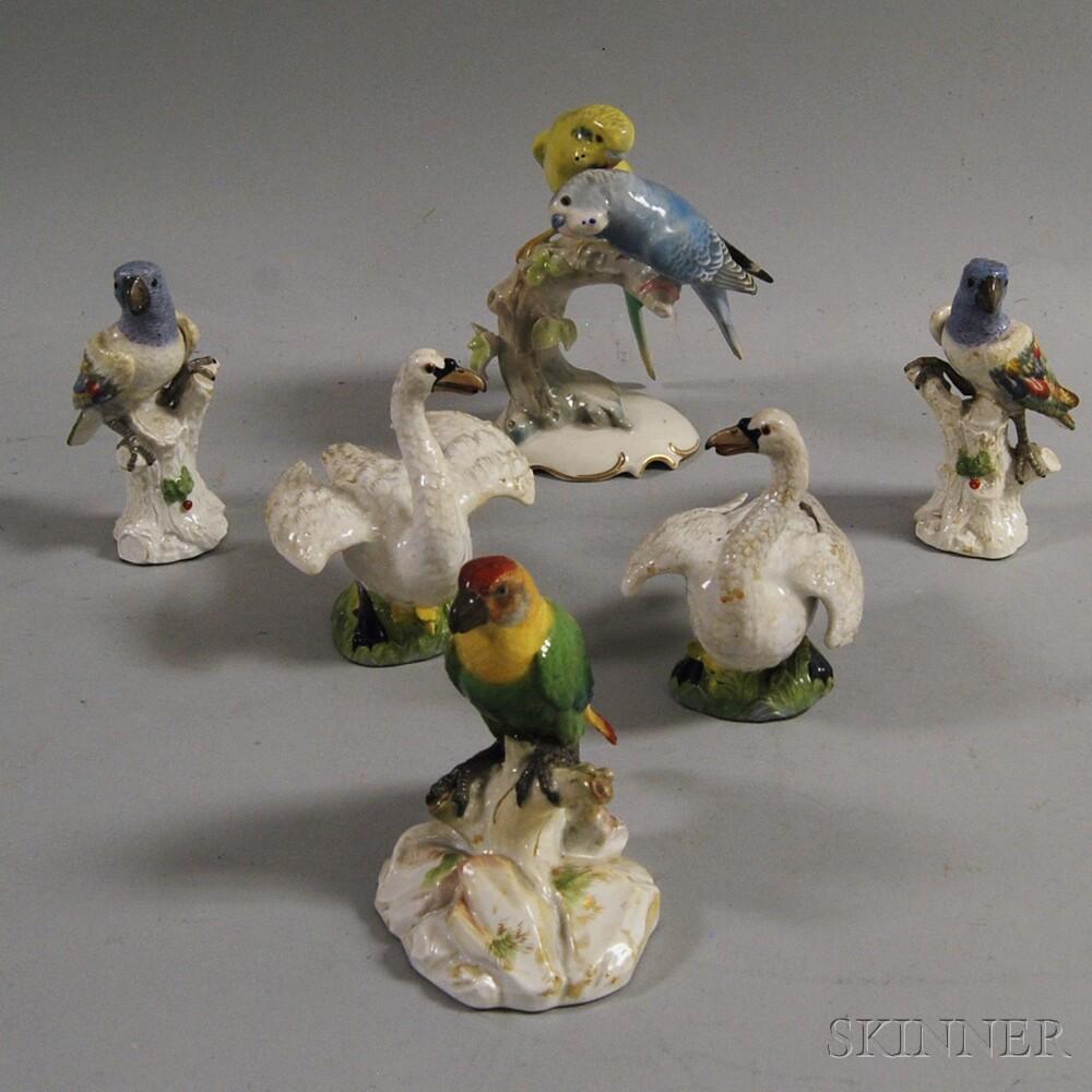 Six Ceramic Figural Bird Sculptures