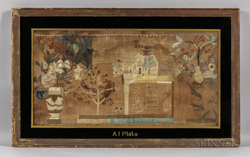 Large Ann Plato Needlework Picture of a House, Garden, and Flowers