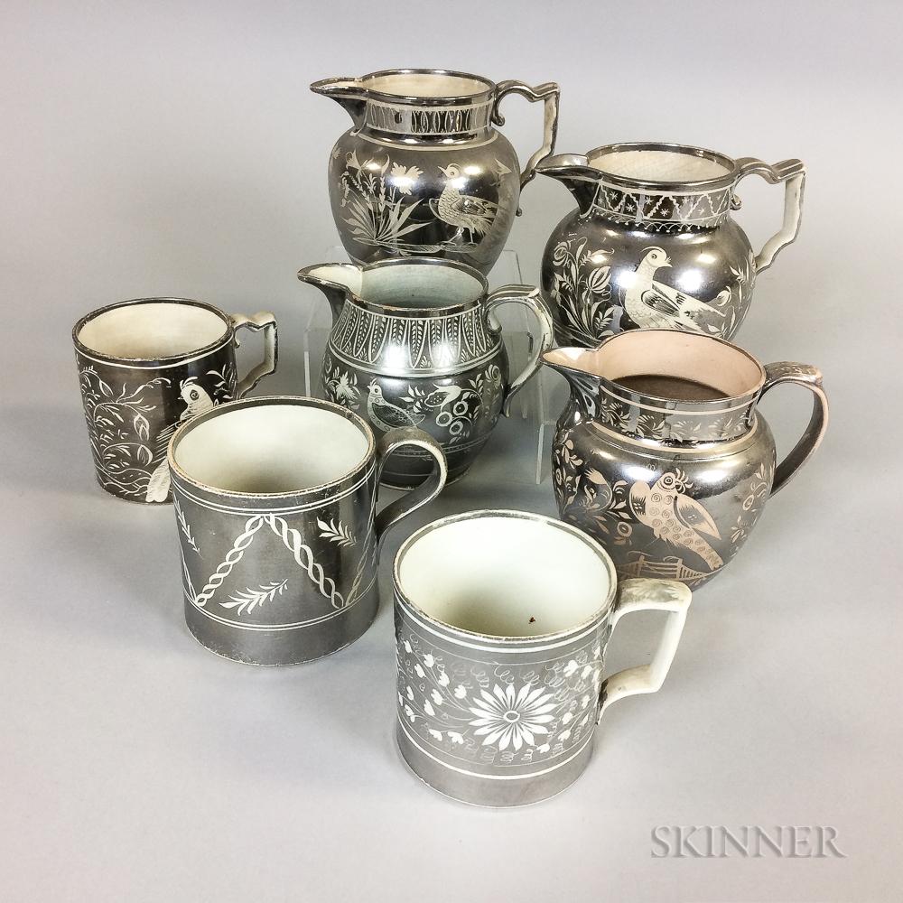 Seven Silver Resist Lustre Ceramic Jugs and Mugs