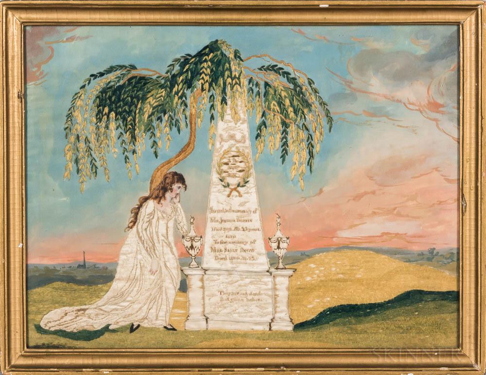 Needlework and Watercolor on Silk Memorial
