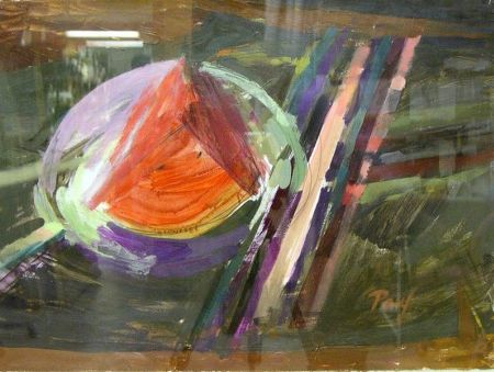 Four Abstract Acrylic on Paper Works