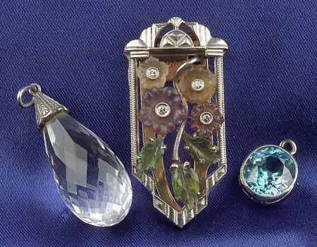 Art Deco Carved Gem-set and Diamond Clip, Krementz & Co.