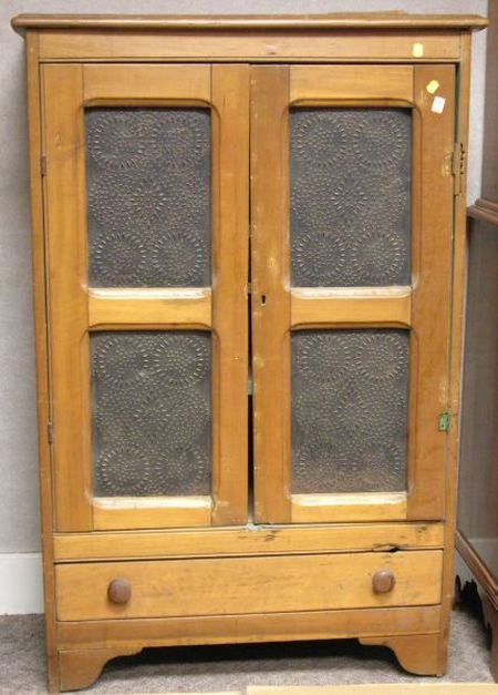 Country Pierced Tin Paneled Cherry and Pine Two-Door Pie Safe.