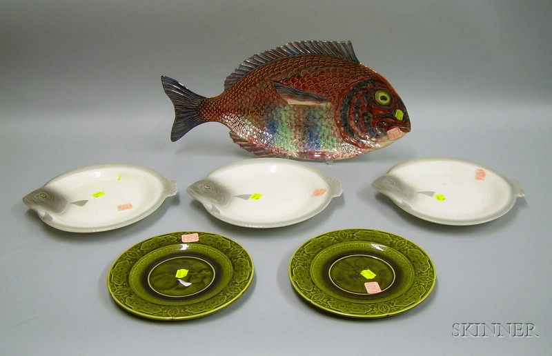 Six Assorted Majolica Plates and Platters