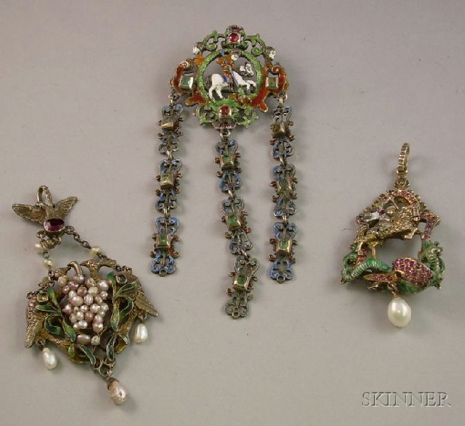 Three Pieces of Bohemian/Austro-Hungarian Enamel, Gem, and Pearl Jewelry