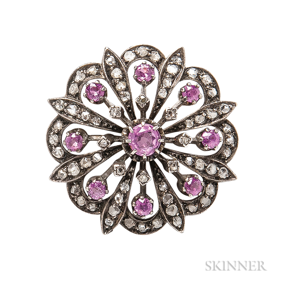 Antique Diamond and Pink Sapphire Brooch