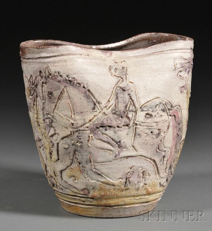 Incised Art Pottery Stoneware Vase
