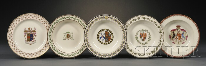 Five Wedgwood Queen's Ware Armorial Decorated Plates
