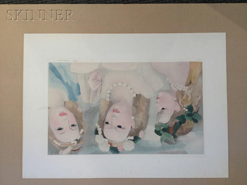 After Marie Laurencin (French, 1885-1956)      Trois jeunes femmes en buste