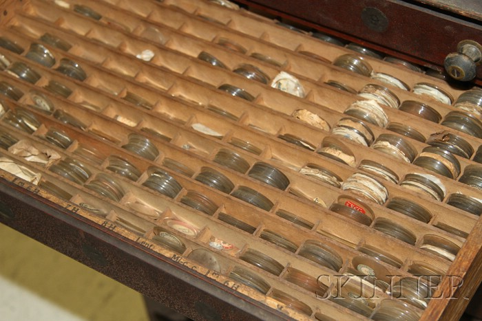 Red-painted Ten-Drawer Watch Crystal Cabinet