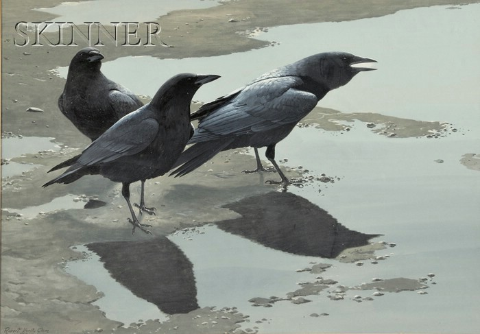 Robert Verity Clem (American, 1933-2010)      Three Crows on the Sand