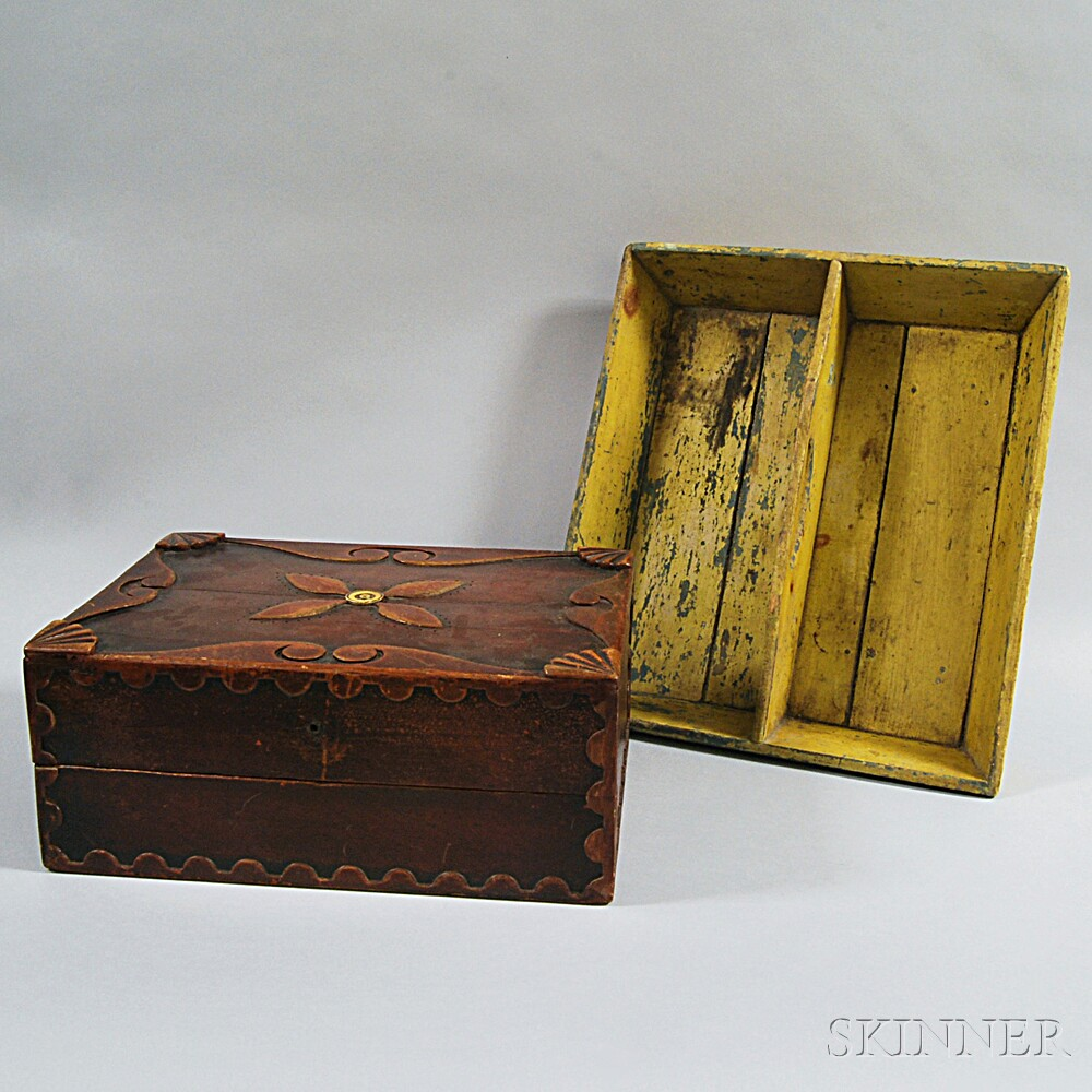 Yellow-painted Knife Box and a Carved Storage Box
