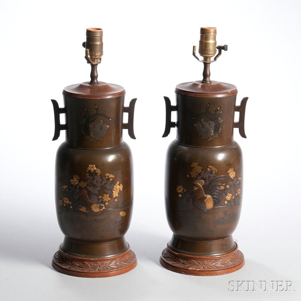 Pair of Bronze Lamp Vases