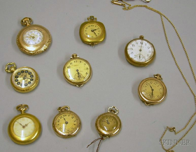 Nine Americand and European Ladies Gold-filled Pocket and Pendant Watches