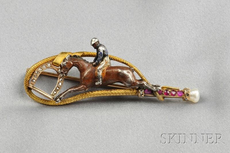 Antique Jockey Brooch
