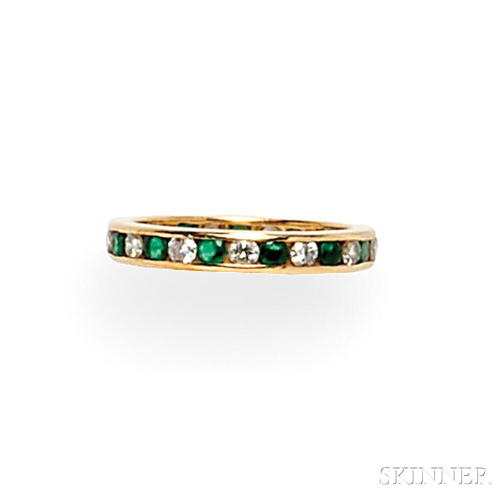 18kt Gold, Emerald, and Diamond Eternity Band, Tiffany & Co.
