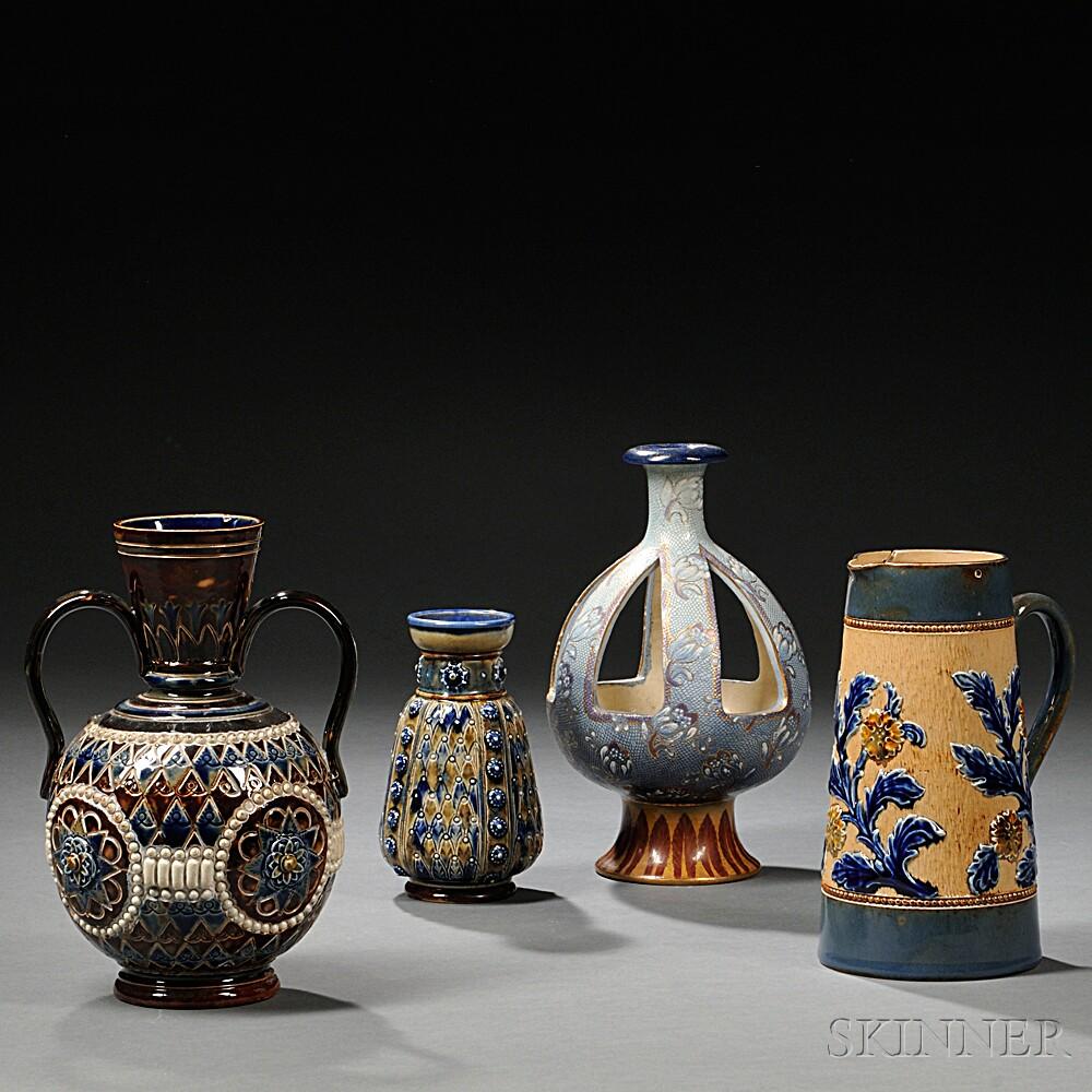 Four Doulton Stoneware Items