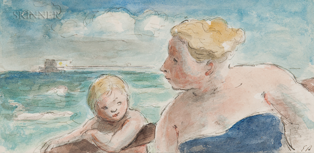 Edward Jeffrey Irving Ardizzone (British, 1900-1979)      Mother and Son at the Shore