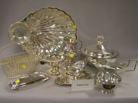 Large Group of Silver Plated Hollowware, Serving Items and Accessories.