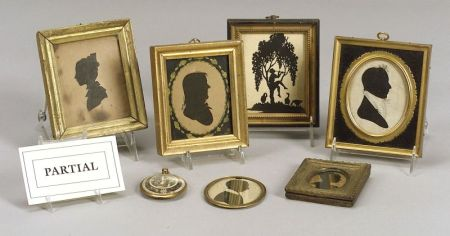 Twelve Silhouettes and an Oval Miniature Figural Painting on Ivory