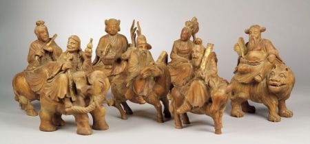 Seven Carved Wooden Deities
