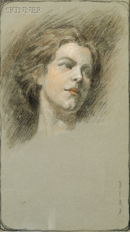 American School, 19th/20th Century      Head of a Young Woman.