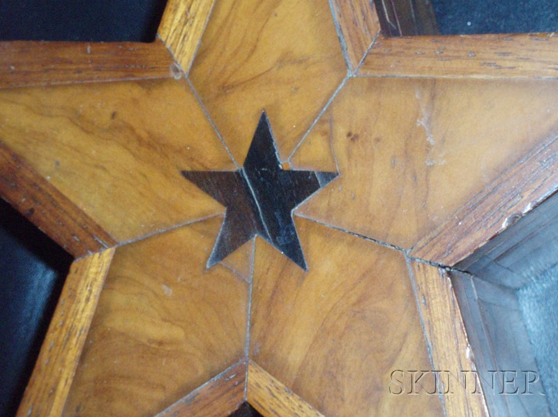 Star-form Inlaid Veneer Wooden Box and Contents