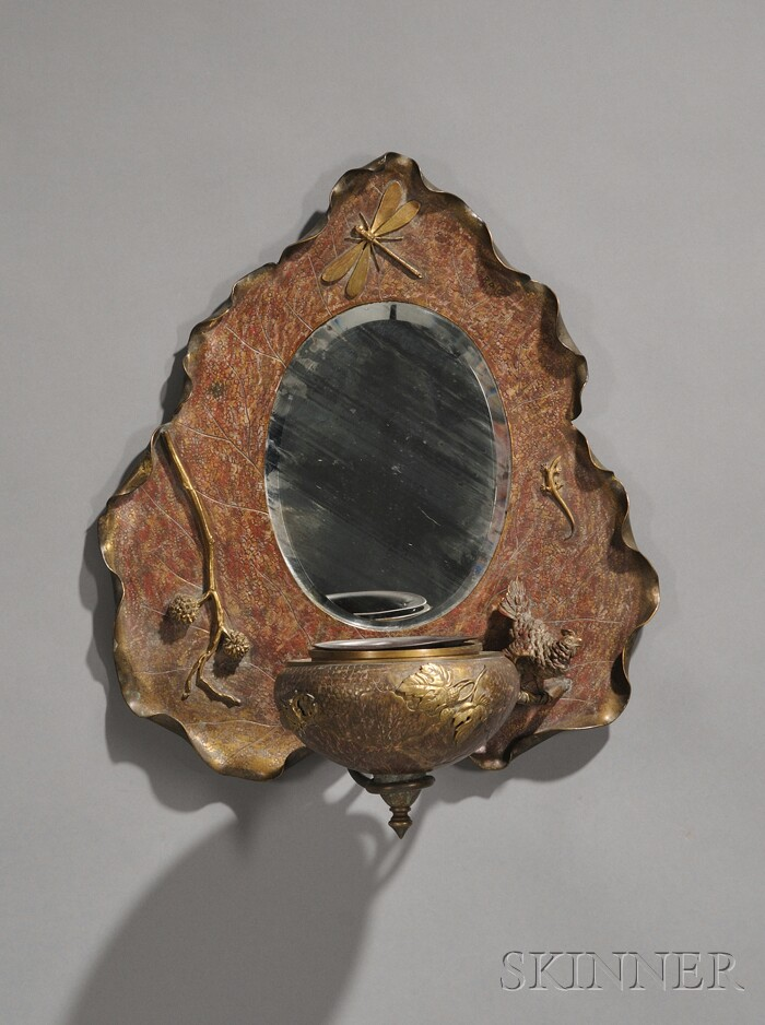 Art Nouveau Bronze Mirrored Wall Fixture with Applied Decoration