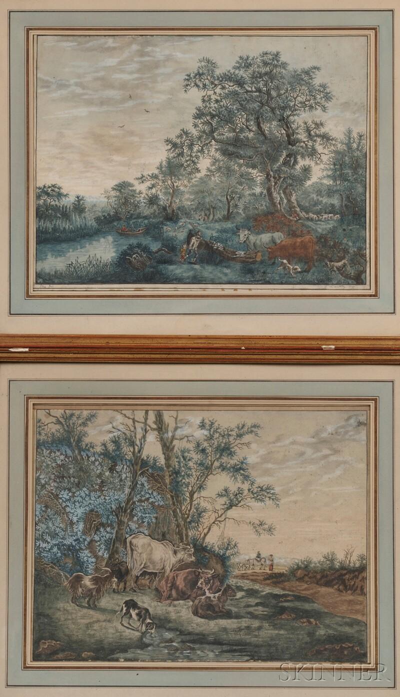 European School, 18th Century      Two Bucolic Landscapes