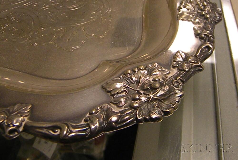 Large Ellis-Barker Silver-plated Vintage Grape Patterned Tea Tray