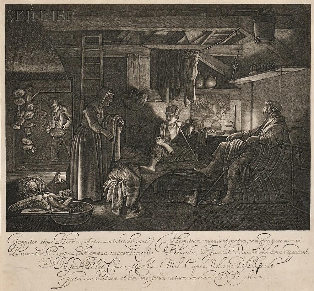 Hendrik Goudt (Dutch, 1583-1648), After Adam Elsheimer (German, 1578-1610)      Jupiter in the House of Philemon and Baucis