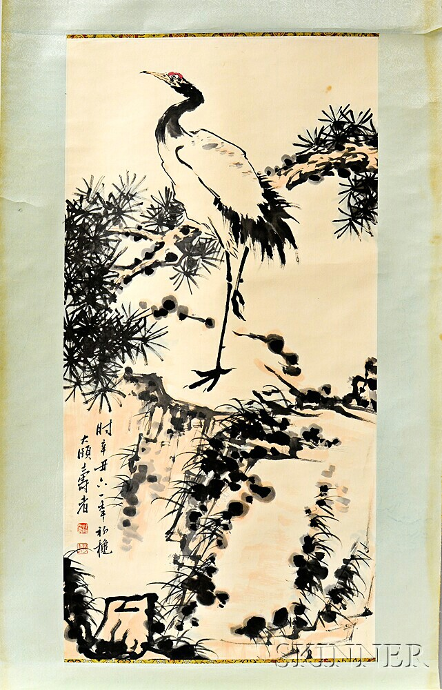 Hanging Scroll Depicting a Standing Crane
