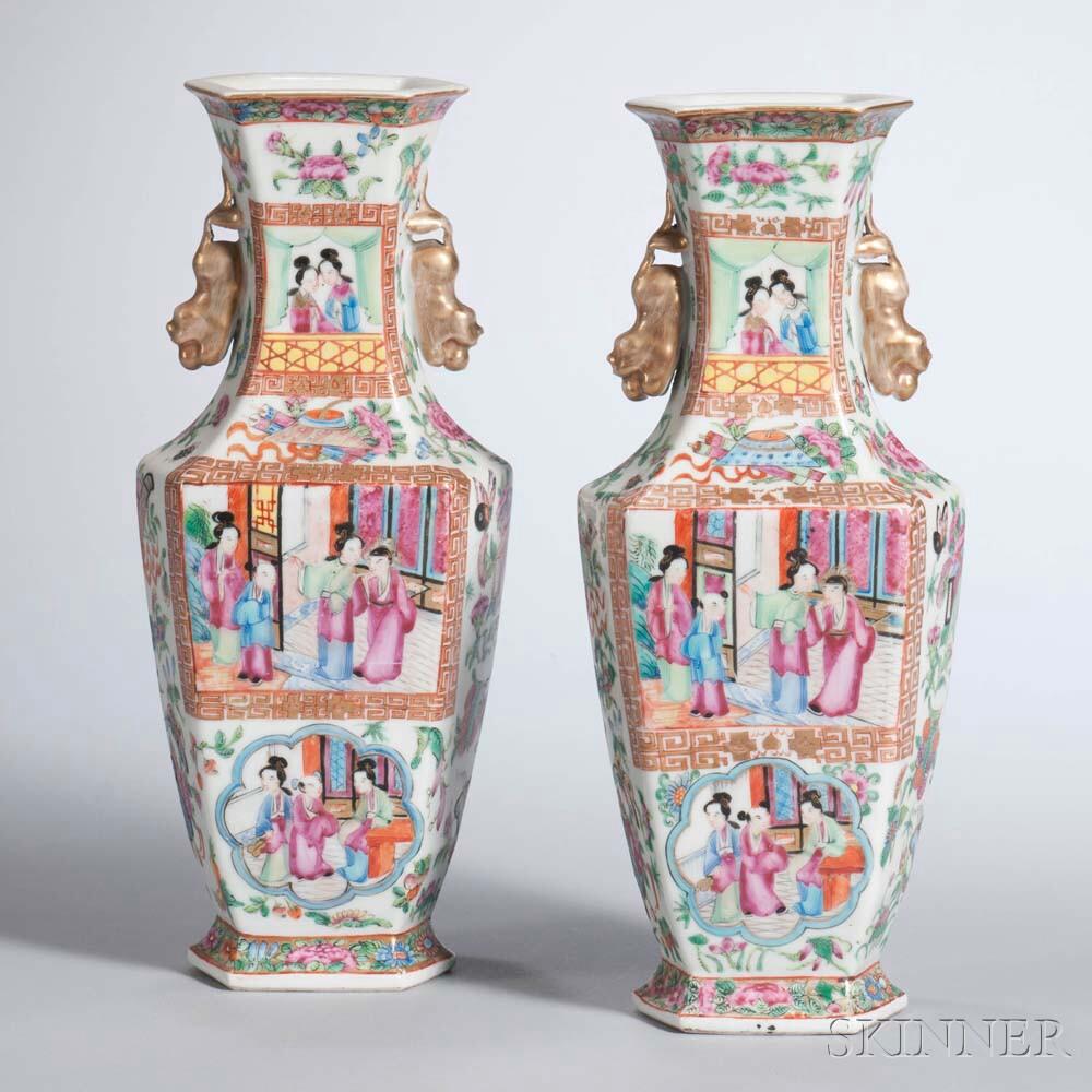 Pair of Rose Mandarin Export Porcelain Vases