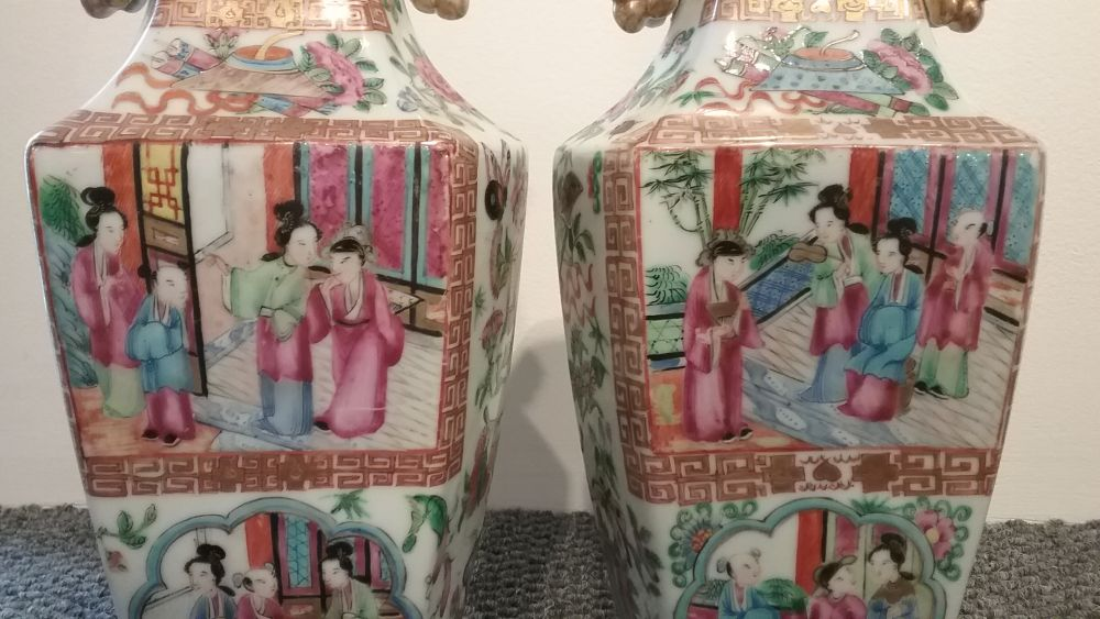 Pair of Rose Mandarin Export Porcelain Vases