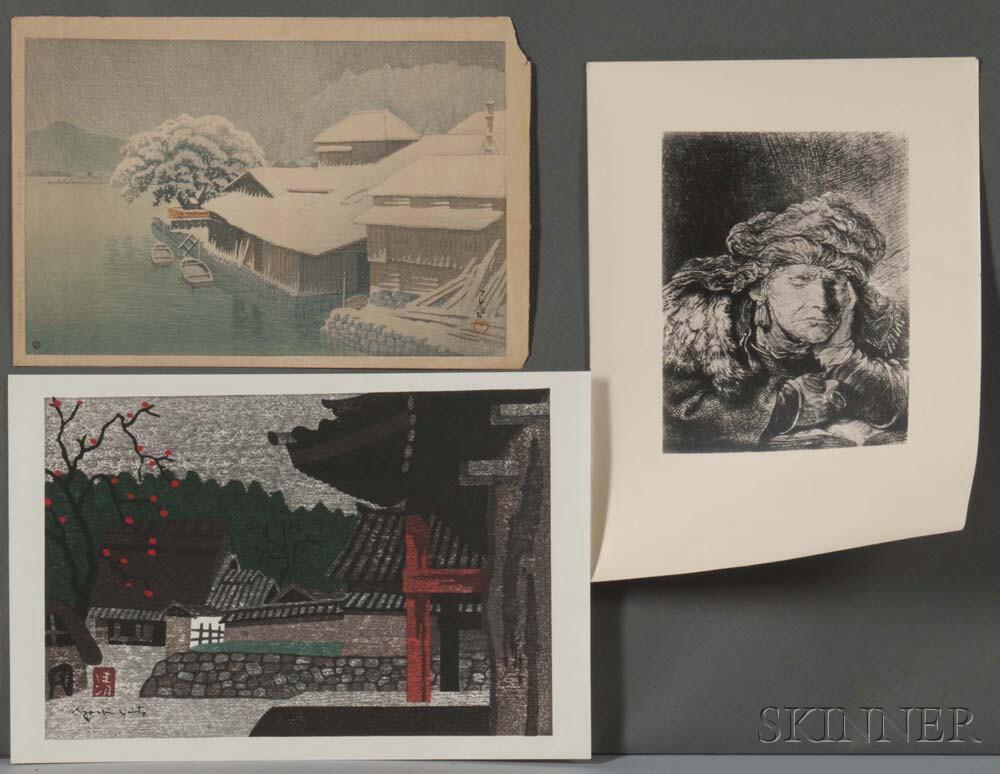 Two Hasui and Saito Woodblock Prints
