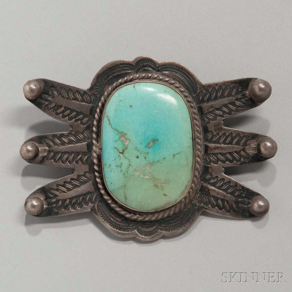 Navajo Silver and Turquoise Manta Pin