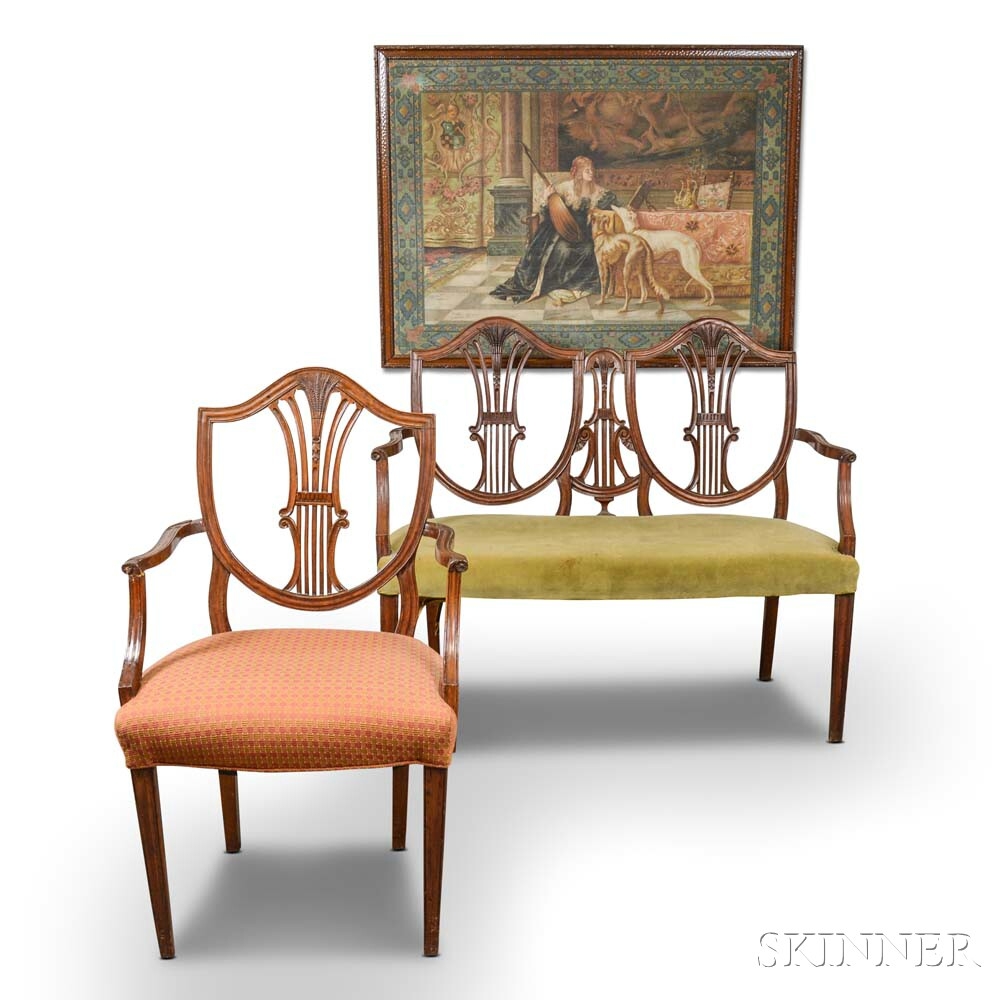 Federal-style Carved Mahogany Double-back Settee, Armchair, and Framed Tapestry