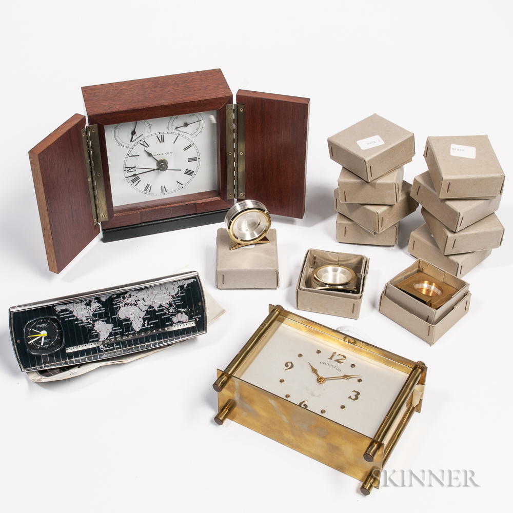 Group of Hamilton Desk Clocks and Cases