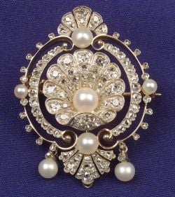Antique Diamond and Pearl Pin