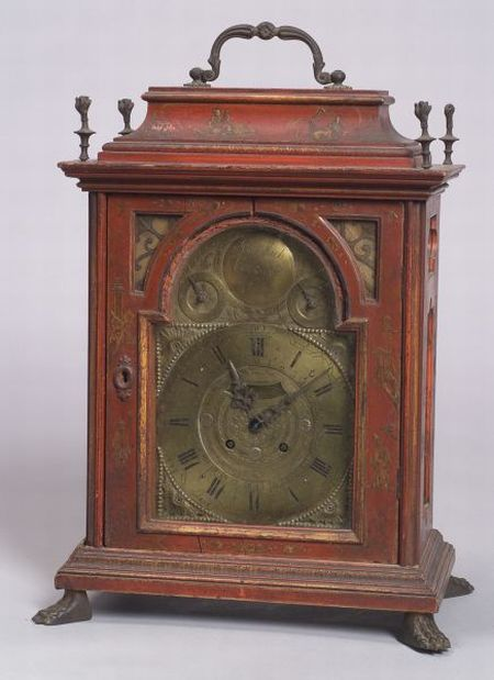Rococo Red Japanned Bracket Clock
