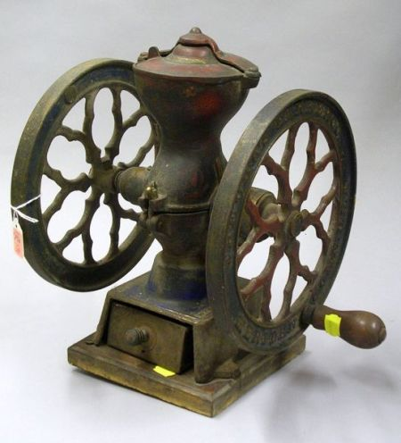 Charles Parker Co. Painted Cast Iron Coffee Grinder