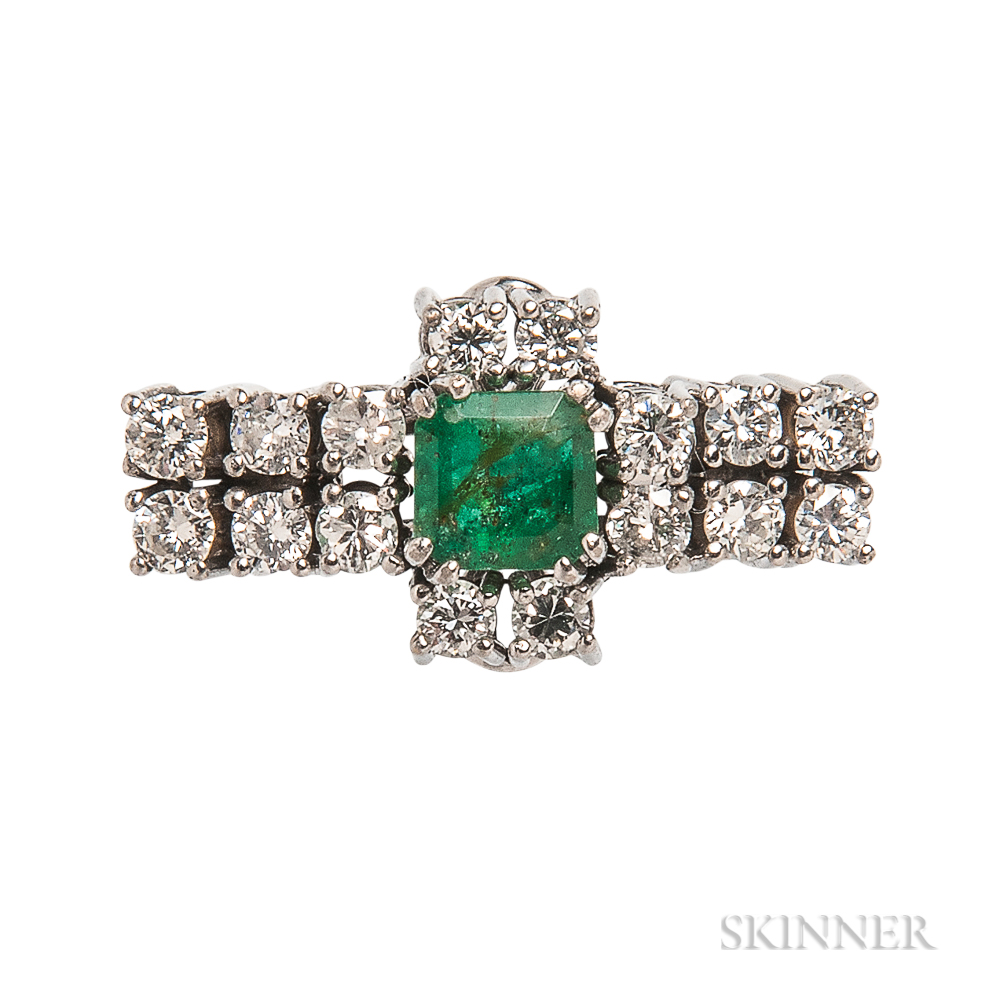 White Gold, Emerald, and Diamond Ring