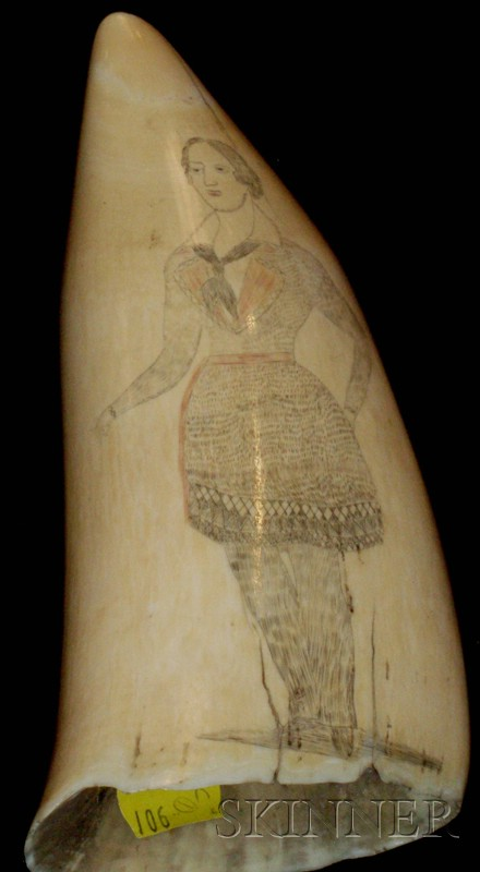 Large Scrimshaw Decorated Whale's Tooth